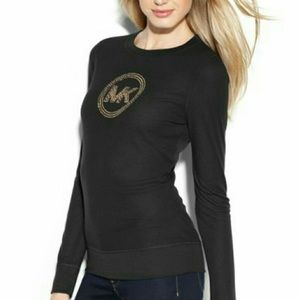 Michael Kors Brown Studded Long Sleeve Shirt
